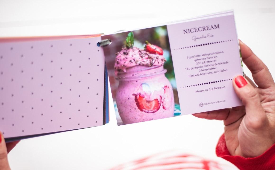 Grüne Smoothies Rezept-Karten-Set mit Nicecream-Rezept